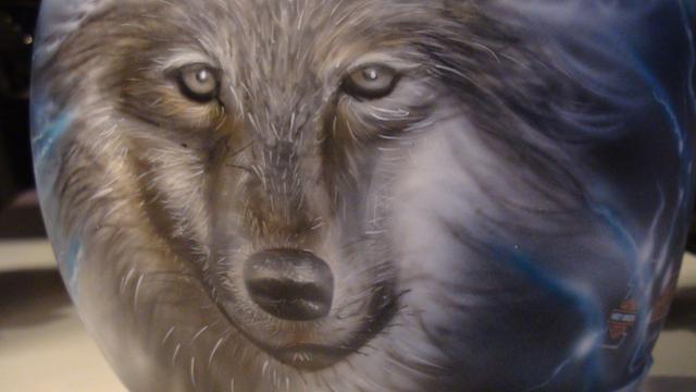 Peinture sur casque moto loup