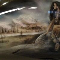 Indian native airbrush painting Harley Davidson video apprendre  peindre  l&rsquo;arographe