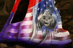 Airbrush painting skull Harley Davidson