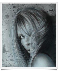 Portrait femme en noir et blanc
