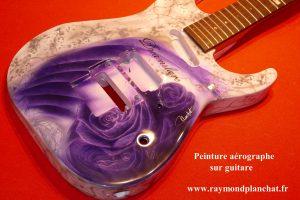 Peinture sur Guitare decoration aerographe