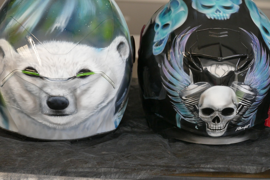 Casque Moto Airbrush Ours skull flaming