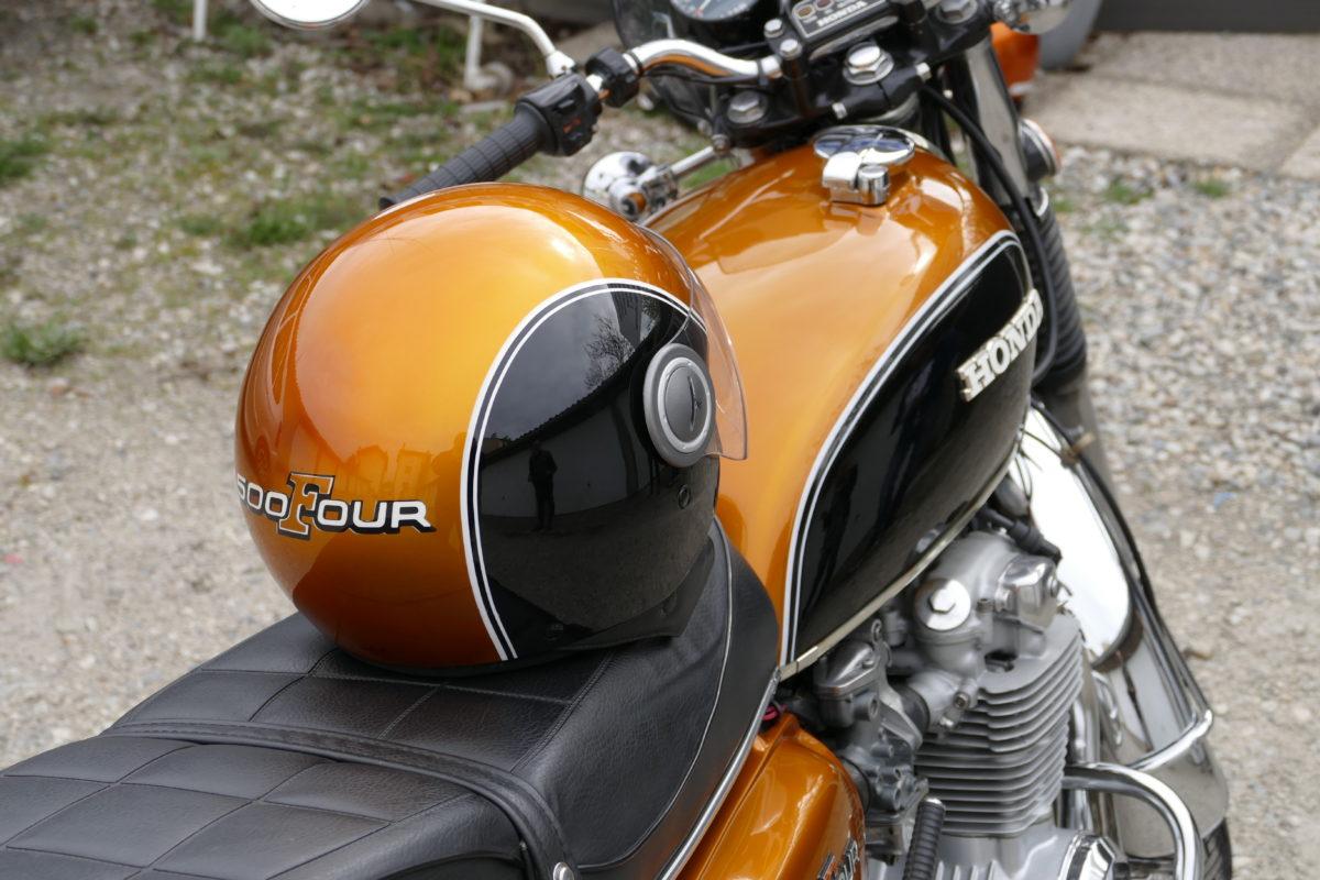 Casque moto Honda 500 four peinture aérographe