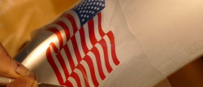 drapeau Americain sur garde boue arriere